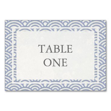 Beach Themed Japanese Seigha Stylized Waves Table Number