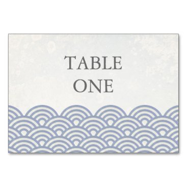 Beach Themed Japanese Seigha Stylized Waves Table Number Card