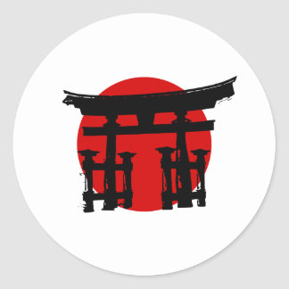 Japanese Shinto Shrine Classic Round Sticker