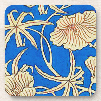 Japanese silk fabric - blue and beige drink coaster