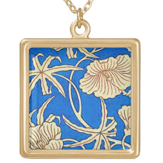 Japanese silk fabric - blue and beige gold plated necklace