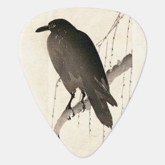 Japanese sketch of a raven guitar pick