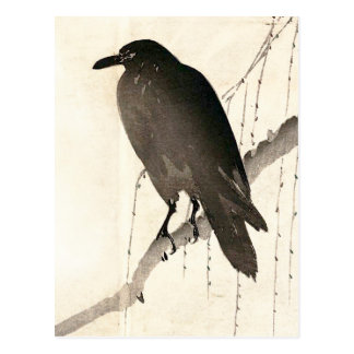 Japanese sketch of a raven postcard