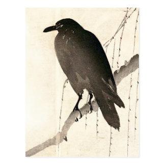 Japanese sketch of a raven postcard