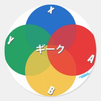 Japanese Snes Geek Classic Round Sticker
