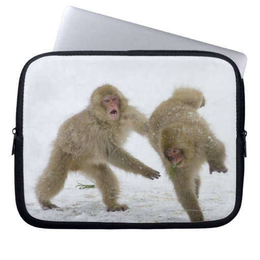 Japanese Snow Monkey cubs playing on snow Laptop Sleeves