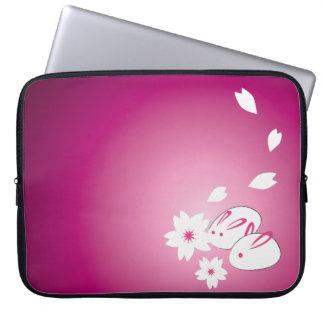 Japanese Snow Rabbits and Sakura Laptop Sleeve