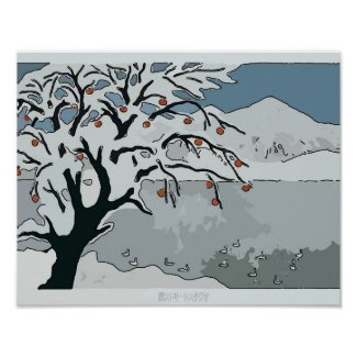 Japanese Snow, Tree & Mountain Poster