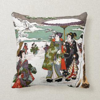 Japanese Snowscape Throw Pillows