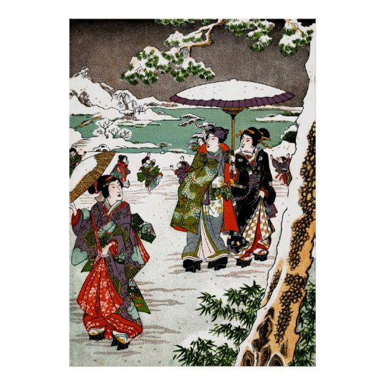 Japanese Snowscape Poster