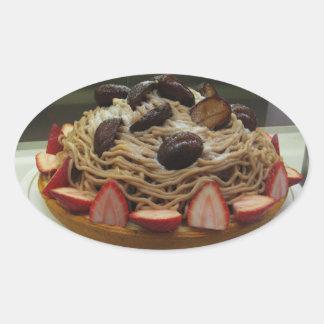Japanese Spaghetti & Strawberry Cake Oval Sticker
