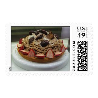 Japanese Spaghetti & Strawberry Cake Postage Stamp