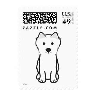Japanese Spitz Dog Cartoon Postage Stamp