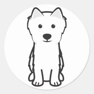 Japanese Spitz Dog Cartoon Classic Round Sticker