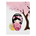 Japanese Spring Kokeshi Doll Poster