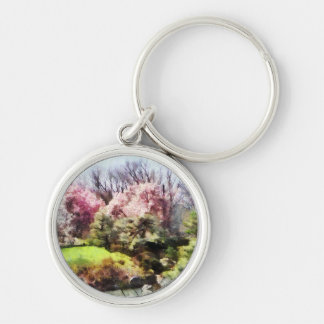Japanese Spring Silver-Colored Round Keychain