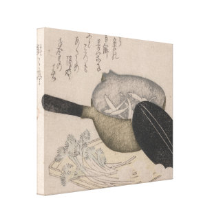Japanese Still Life Vintage Image Pot of Whitefish Canvas Print