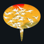 """Japanese Storks image Cake Topper<br><div class=""""desc"""">This lovely drawing of storks by the river whilst the setting sun is slowing dropping in the Japanese sky. This is perfect for those who love Japanese art, bird images or for those who just love a stunning piece of drawing. Suitable for offices, homes, and spas etc, anywhere you wish...</div>"""