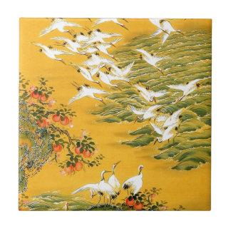 Japanese Storks image Small Square Tile