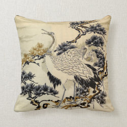 Japanese Storks Throw Pillow