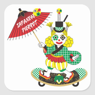 Japanese-style clown colorful (JAPANESE STYLE Square Sticker