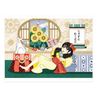 Japanese-style girl and cat postcard