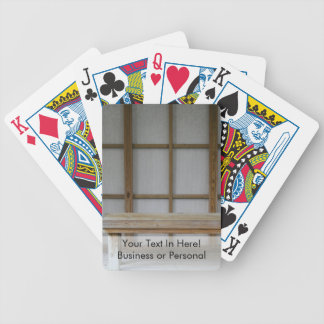 Japanese style tea house bench bicycle playing cards
