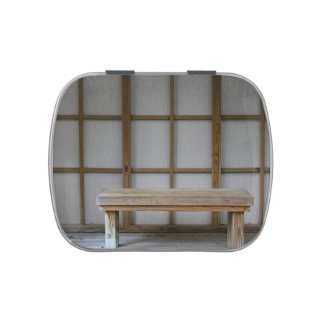 Japanese style tea house bench candy tins