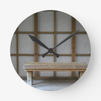 Japanese style tea house bench round clock