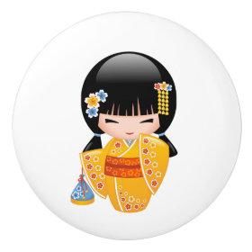 Japanese Summer Kokeshi Doll Ceramic Knob