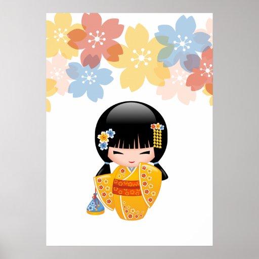 Japanese Summer Kokeshi Doll Poster