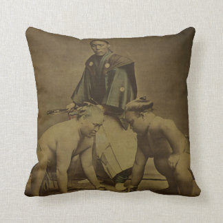 Japanese Sumo Wrestlers 1867 Throw Pillow