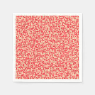 Japanese swirl pattern - coral orange disposable napkin