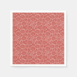 Japanese swirl pattern - deep red and white disposable napkin