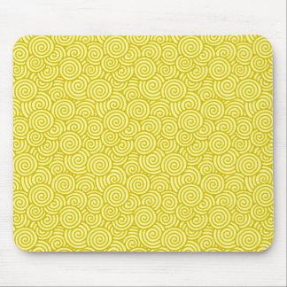 Japanese swirl pattern - mustard and light yellow mouse pad