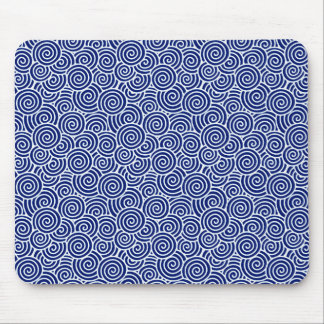 Japanese swirl pattern - navy blue and white mouse pad