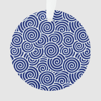Japanese swirl pattern - navy blue and white ornament