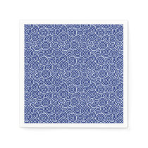 Japanese swirl pattern - navy blue and white paper napkin