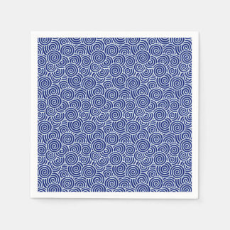 Japanese swirl pattern - navy blue and white paper napkin