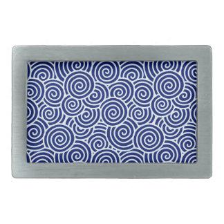 Japanese swirl pattern - navy blue and white rectangular belt buckle