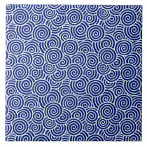Japanese swirl pattern - navy blue and white tile