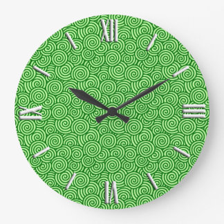 Japanese swirl pattern - pine and lime green clock