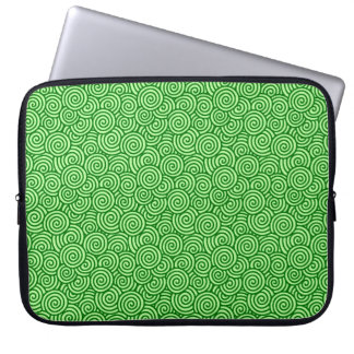 Japanese swirl pattern - pine and lime green laptop sleeve