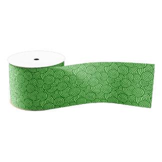 Japanese swirl pattern - pine and lime green grosgrain ribbon
