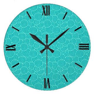 Japanese swirl pattern - turquoise and aqua large clock