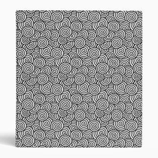 Japanese swirl pattern - white and black 3 ring binder