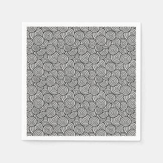 Japanese swirl pattern - white and black disposable napkins