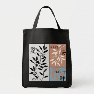 Japanese Symbols on Leafy Vine Tote zazzle_bag