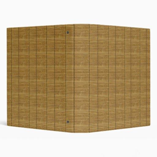 Japanese Tatami Mat, Bamboo Planks - Brown 3 Ring Binder