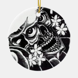 Japanese tattoo skull round ceramic decoration